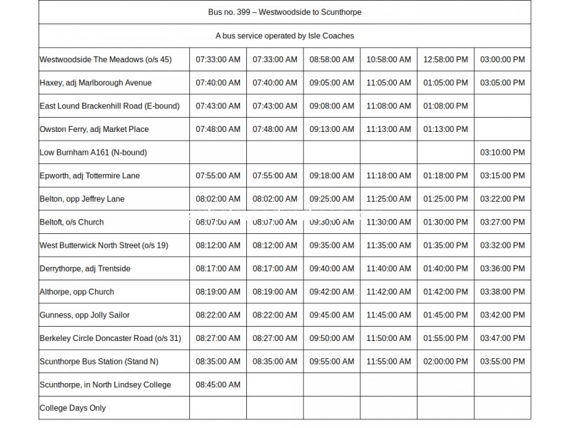 Westwoodside to Scunthorpe Bus Time Table