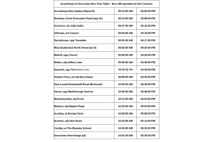 Scunthorpe to Doncaster Bus Time Table