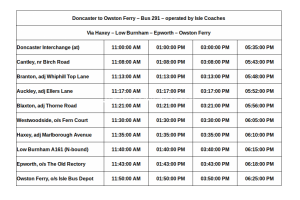 Doncaster to Owston Ferry Bus Time Table